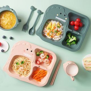 Popcorn - Set: Kids Plastic Dinosaur Plate + Spoon + Fork + Chopsticks