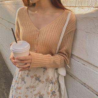 CHERRYKOKO - Woolen Pointelle Knit Cardigan