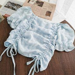 Miss Puff - 泡泡袖抽繩皺褶格子襯衫