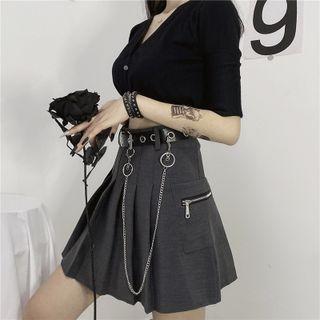 Miss Kekeli - Set: Pleated Mini Skirt + Chained Belt