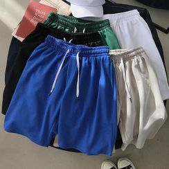Wescosso - Plain Drawstring Shorts