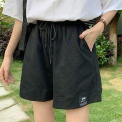 CEYX - Drawstring Wide Leg Sweat Shorts
