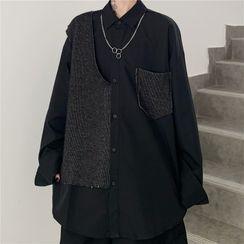 Shineon Studio - 条纹拼接纯色长袖衬衫