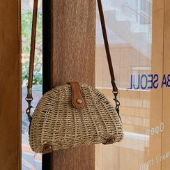 MERONGSHOP - Half-Moon Woven Shoulder Bag