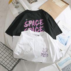 OSIGRANDI - Cartoon Cat Print Short-Sleeve T-Shirt
