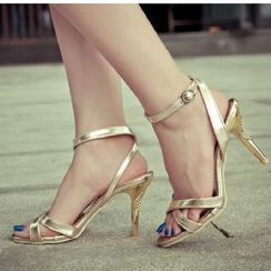 Freesia - Open Toe Ankle Strap High Heel Sandals