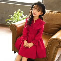 Cuckoo - Kids Ruffled Long-Sleeve A-Line Dress / Cold-Shoulder A-Line Dress