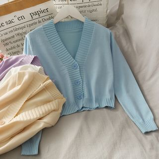 Lemongrass - 三粒扣短款針織上衣