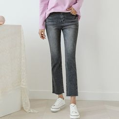 JUSTONE - Band-Waist Cropped Straight-Cut Jeans