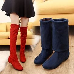 MANMANNI - Faux-Suede Over the Knee Boots