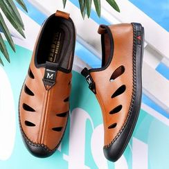 Snowpard - Genuine Leather Cutout Loafers