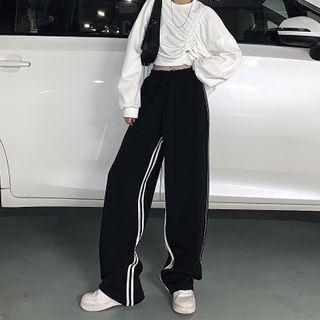 Genki Groove - 條紋寬腿運動褲
