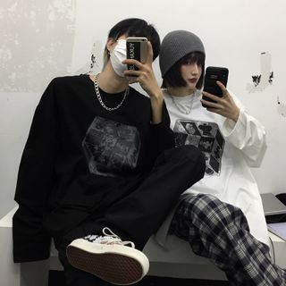 Koiyua - Couple Matching Long-Sleeve Cube Print T-Shirt