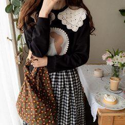 LEELIN(リーリン) - Crochet-Collar Print Patch Top