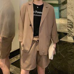 ANCHO(アンチョ) - Set: Plain Short Sleeve Blazer+Plain Dress Shorts
