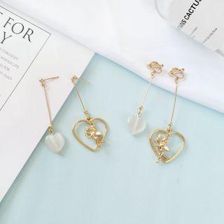 Siatra - Asymmetric Heart & Cupid Drop Earrings