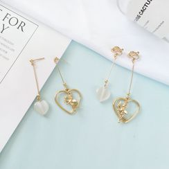 Siatra - Asymmetric Heart & Cupid Drop Earrings