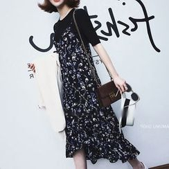 Einshine - Flower Print Spaghetti Strap Chiffon Dress