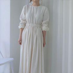 Pomona - 純色長袖A字連衣中裙
