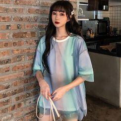 Chogen - 短袖網紗搭層T裇