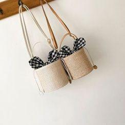 Diamante(ディアマンテ) - Gingham Paneled Woven Bucket Bag