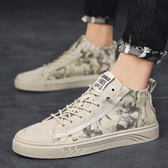 Auxen - Platform Lace Up Canvas Sneakers