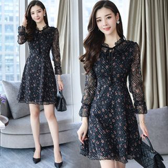 SEPH - Floral 3/4-Sleeve A-line Chiffon Dress