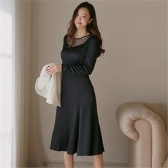 Styleberry - Mesh-Trim A-Line Dress