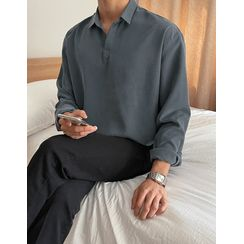 JOGUNSHOP - Open-Placket Plain Shirt