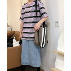 Tangan - Striped Elbow-Sleeve T-Shirt