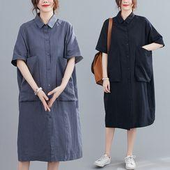 RAIN DEER - Plain Lapel Shirtdress