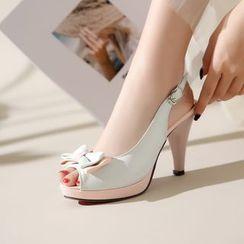 YOUIN - 拼色仿皮蝴蝶結露趾鞋