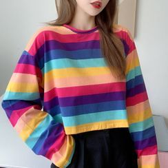 Tiny Times - Long-Sleeve Striped T-Shirt / Camisole Top