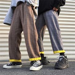 LINSI - Couple Matching Plaid Wide-Leg Pants