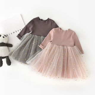 Cen2ury - Baby Long-Sleeve Star Sequin Mesh Panel Dress