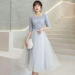 Wonhi - Elbow-Sleeve A-line Cocktail Dress