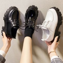 Yuki Yoru(ユキヨル) - Platform Lace-Up Loafer Shoes