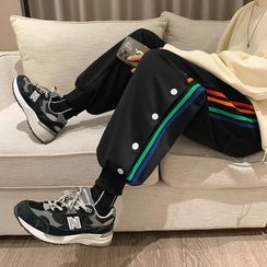 Antaeus - Striped Side-Button Jogger Sweatpants