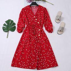 Be Bonita - Polka Dot Wrap Chiffon A-Line Dress