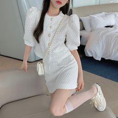 NENE - Short-Sleeve Button-Up Jacket / Mini Skirt