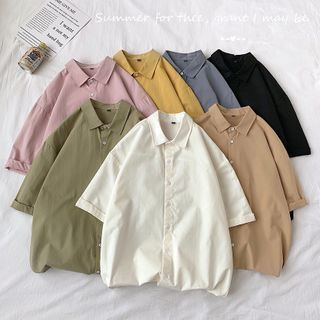 8th Sense - Elbow-Sleeve Plain Shirt
