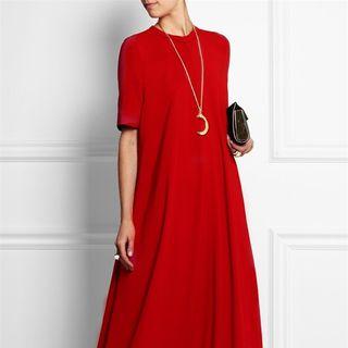 Oscuro - Plain Short-Sleeve Maxi T-Shirt Dress
