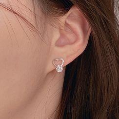 BURMASTIN - 925 Sterling Silver Rhinestone Heart Earring