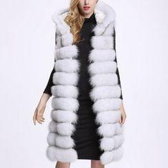 KOTEN - Hooded Faux Fur Long Vest