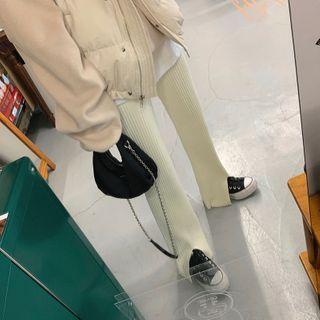 Windcatcher - 高腰純色羅紋針織褲