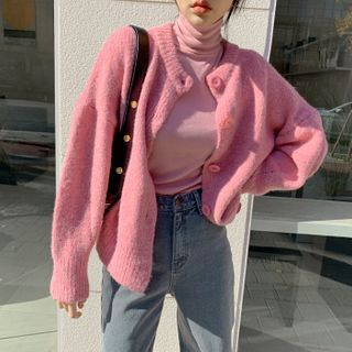 DEEPNY - Pastel Drop-Shoulder Fluffy Cardigan