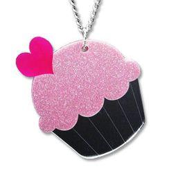 Sweet & Co. - XL可爱闪烁闪粉红CUPCAKE吊嘴颈链