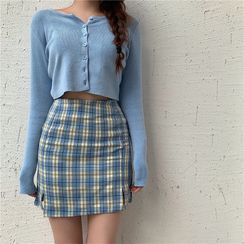 OCTALE - Long-Sleeve Button Knit Top / Plaid Mini Fitted Skirt