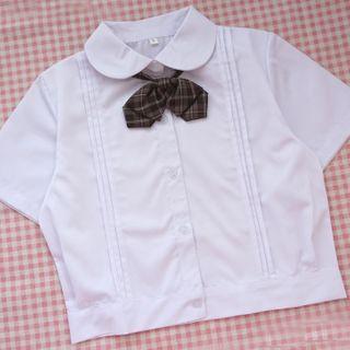 Candy House - 短袖纯色衬衫 / 结带 / 套装