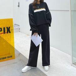 PIPPIN - Set: Letter Print Dip-Back Top + Band-Waist Sweat Pants